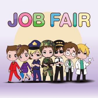 Leuke kunst werk job fair cartoon.