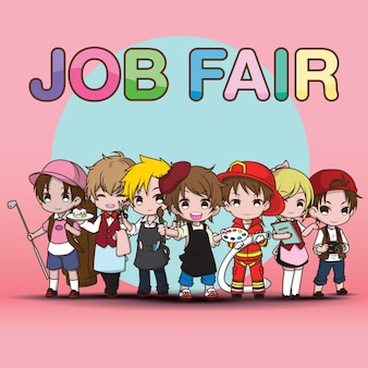 Leuke kunst werk job fair cartoon.