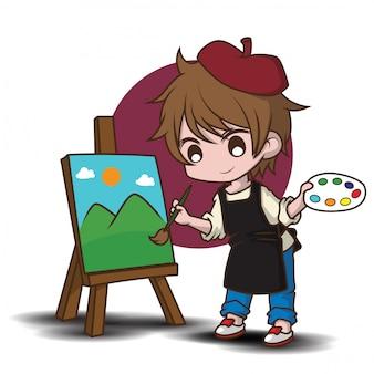 Leuke kunstenaar stripfiguur