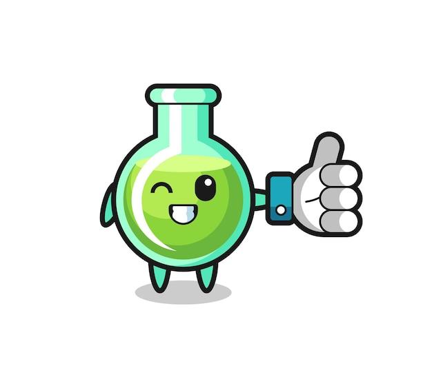 Leuke laboratoriumbekers met symbool voor sociale media duimen omhoog, schattig stijlontwerp voor t-shirt, sticker, logo-element