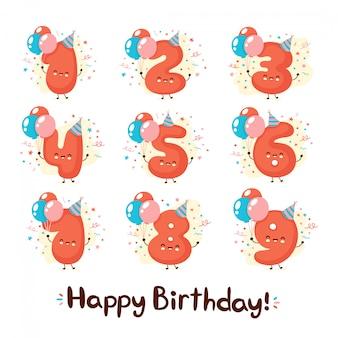 Leuke lachende nummers met ballonnen in feestelijke hoed set. gelukkige verjaardag jaar collectie.