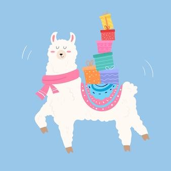 Leuke lama die geschenken op de rug draagt om te vieren. cartoon-stijl