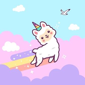 Leuke lama eenhoorn springen met regenboog, wolk en sterren.