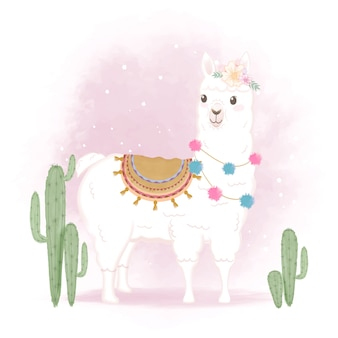 Leuke lama en cactus, hand getrokken illustratie