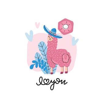 Leuke lama in een hoed met harten op roze met bloemenelementen.