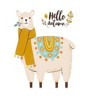 Leuke lama in sjaal. hallo herfst belettering. kleurrijke illustratie.