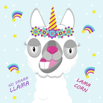 Leuke lama met eenhoornhoorn. platte afbeelding van schattig en grappig dier. lamacorn.