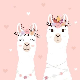 Leuke lama's voor huwelijksuitnodiging.