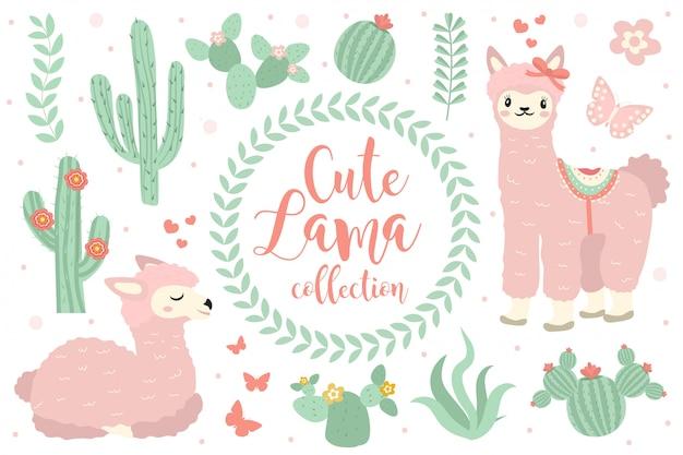 Leuke lama set objecten. collectie ontwerpelementen met lama, cactus, mooie bloemen. geïsoleerd op witte achtergrond. alpaca prinses karakter. kids baby clip art grappig glimlachend dier.