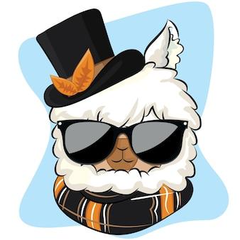 Leuke lama val illustratie met muts en sjaal. alpaca cartoon herfst wenskaart.