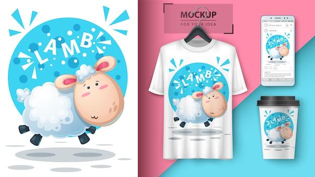 Leuke lamillustratie voor t-shirt, kop en smartphonebehang