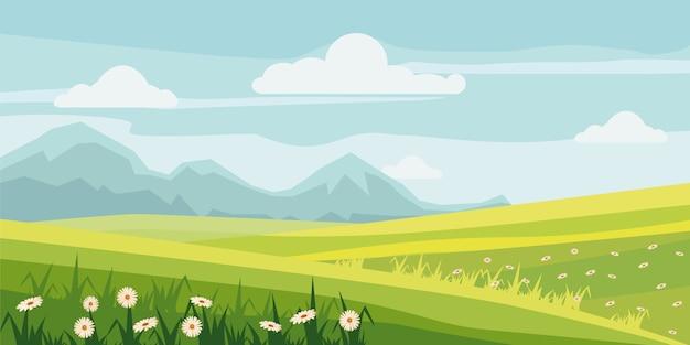 Leuke landelijke landschapsboom, gebied, madeliefjebloemen Premium Vector