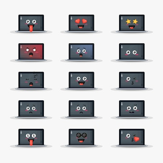 Leuke laptop met geplaatste emoticons