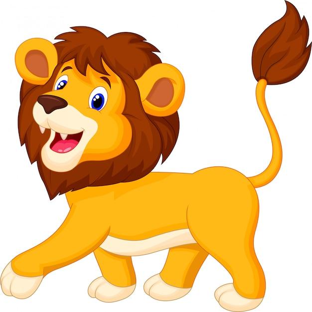 Leuke leeuw cartoon wandelen