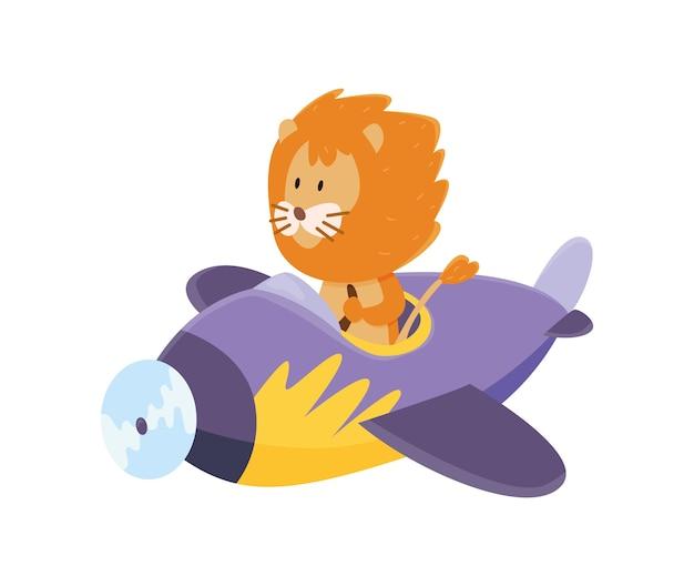 Leuke leeuw die een vliegtuig vliegt.