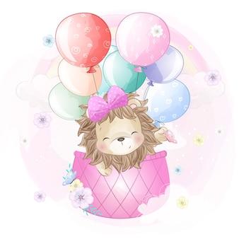 Leuke leeuw die met luchtballon vliegt