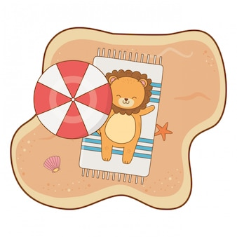 Leuke leeuw die van het beeldverhaal van de zomertijd geniet