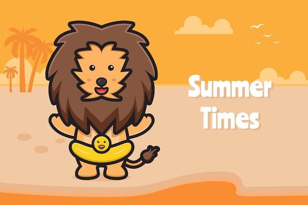 Leuke leeuw die zwemring draagt met een zomerse groet banner cartoon pictogram illustratie