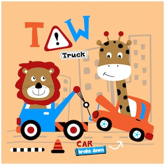 Leuke leeuw en giraf op de grappige dierencartoon van de auto