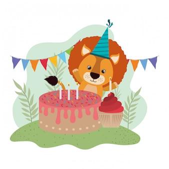 Leuke leeuw met cake van gelukkige verjaardag