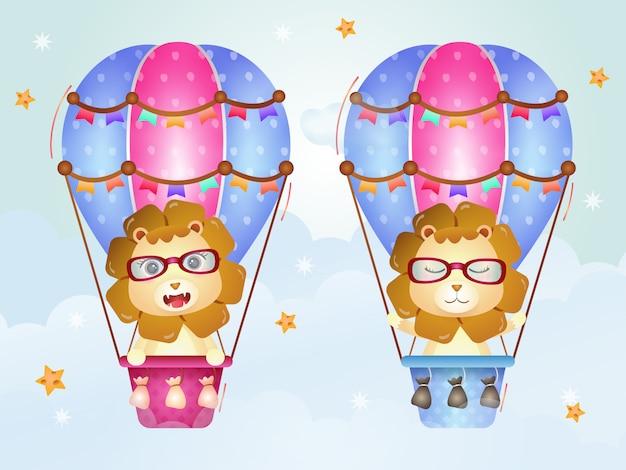 Leuke leeuw op hete luchtballon