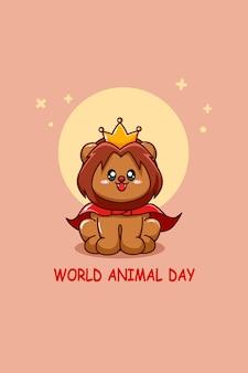 Leuke leeuwenkoning in cartoonillustratie van werelddierendag