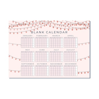 Leuke lege horizontale kalendersjabloon, jaarkalender met roze perzik lantaarn lamp achtergrond