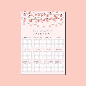 Leuke lege verticale kalendersjabloon, jaarkalender met roze perziklantaarnlamp en achtergrond