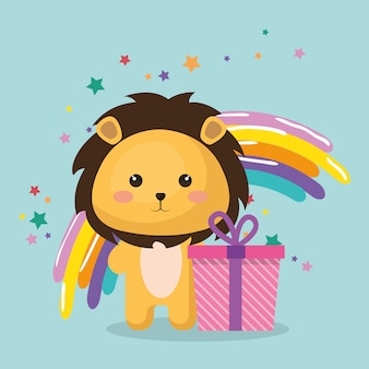 Leuke leon met de verjaardagskaart van giftkawaii