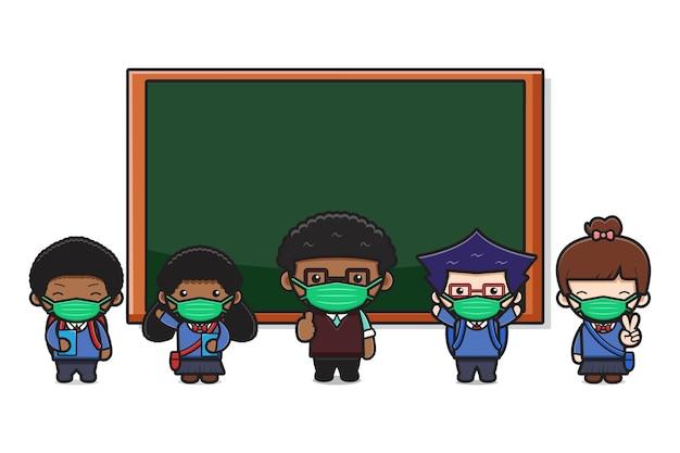 Leuke leraar en studenten in de klas met nieuwe normale stijl cartoon pictogram illustratie. ontwerp geïsoleerd op wit. platte cartoonstijl.