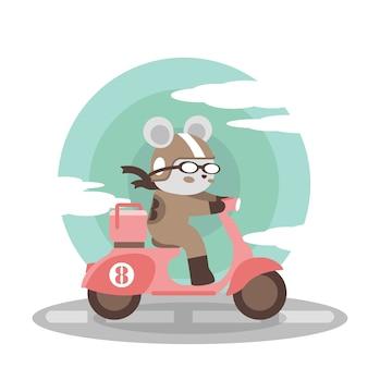 Leuke lever scooter cartoon doodle illustratie
