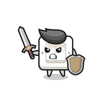 Leuke lichtschakelaar soldaat vecht met zwaard en schild, schattig stijlontwerp voor t-shirt, sticker, logo-element