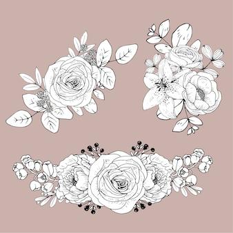 Leuke lijn bloemen geïsoleerd. hand getekend boeket