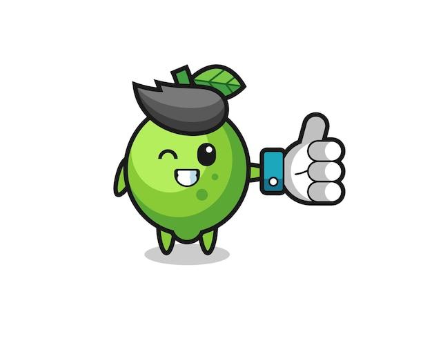 Leuke limoen met symbool voor sociale media duimen omhoog, schattig stijlontwerp voor t-shirt, sticker, logo-element