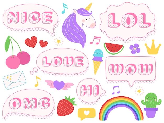 Leuke lol stickers. wow, omg en leuke meisjes poppensticker. grappige verrassings roze flarden met gestippelde textuur geïsoleerde reeks