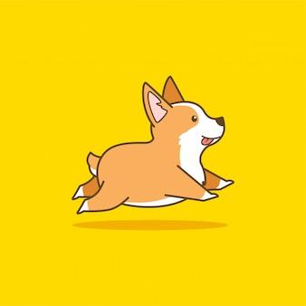 Leuke lopende corgi hond illustratie