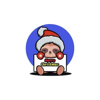Leuke luiaard die kerst viert