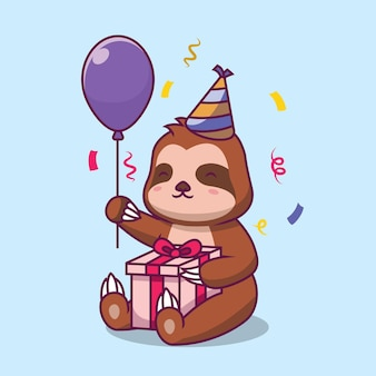 Leuke luiaard verjaardagsfeestje cartoon afbeelding