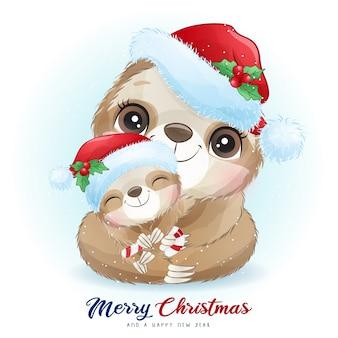 Leuke luiaard voor eerste kerstdag met aquarel illustratie