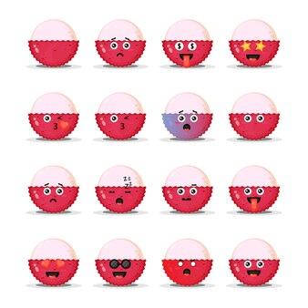 Leuke lychee met emoticons set