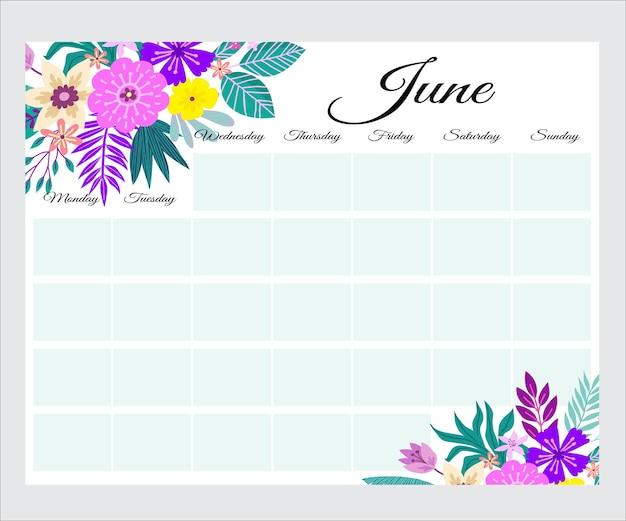 Leuke maandplanner met bloemen, takenlijst, notities, afdrukbaar, vector