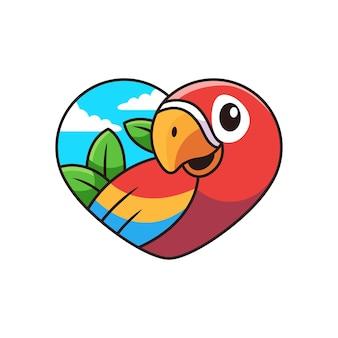 Leuke macaw cartoon met liefde cartoon pictogram illustratie. dierlijk pictogramconcept op witte achtergrond