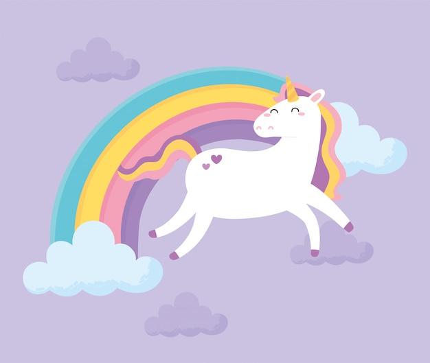 Leuke magische eenhoorn regenboog wolken hemel dierlijk beeldverhaal vectorillustratie