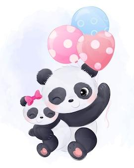 Leuke mama panda en babypanda illustratie in aquarel