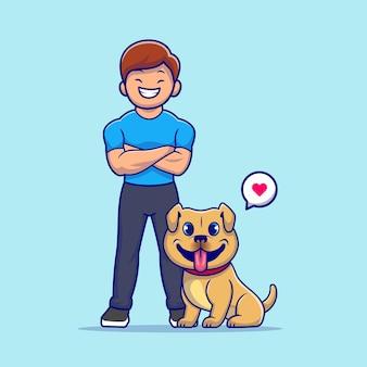 Leuke man met hond cartoon pictogram illustratie. mensen dier pictogram concept geïsoleerd. flat cartoon stijl