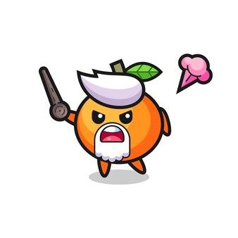 Leuke mandarijn oranje opa wordt boos, schattig stijlontwerp voor t-shirt, sticker, logo-element