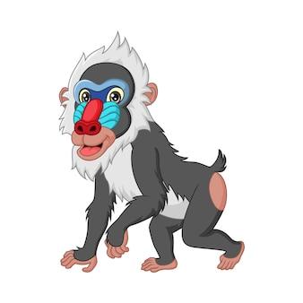 Leuke mandril baviaan cartoon geïsoleerd op wit