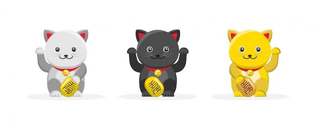 Leuke maneki neko de mascotte van het gelukkige kattenbeeldverhaal