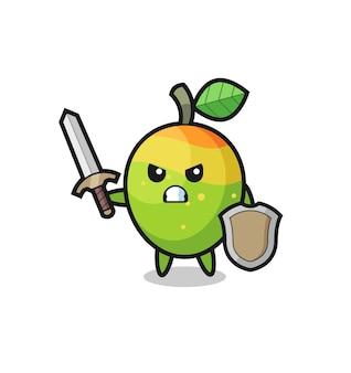 Leuke mango-soldaat die vecht met zwaard en schild, schattig stijlontwerp voor t-shirt, sticker, logo-element