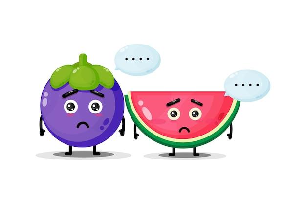Leuke mangostan en watermeloenmascotte met droevige uitdrukking